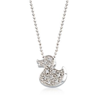 """C. 2000 Vintage Alex Woo """"Baby Girl Ducky"""" .10 ct. t.w. Diamond Necklace in 14kt White Gold. 16"""", , default"""