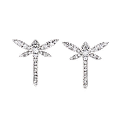 .25 ct. t.w. Diamond Dragonfly Earrings in 14kt White Gold, , default