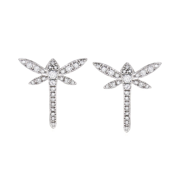 .25 ct. t.w. Diamond Dragonfly Earrings in 14kt White Gold