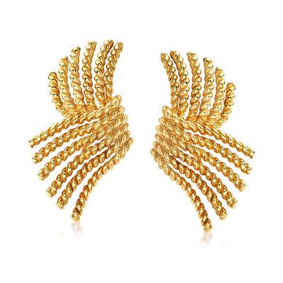 """C. 1980 Vintage Tiffany Jewelry """"Schlumberger"""" Fan Earrings in 18kt Yellow Gold"""