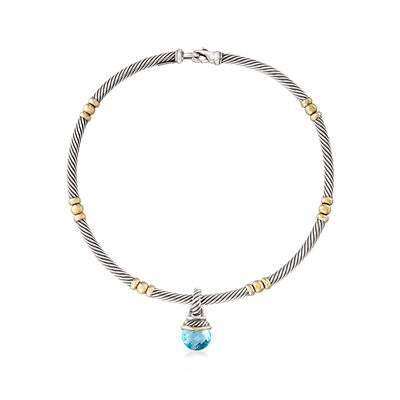 C. 1990 Vintage David Yurman 10.50 Carat Blue Topaz Drop Cable Necklace in Sterling Silver and 18kt Yellow Gold, , default