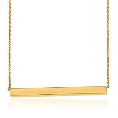 Italian 14kt Yellow Gold Bar Necklace, , default