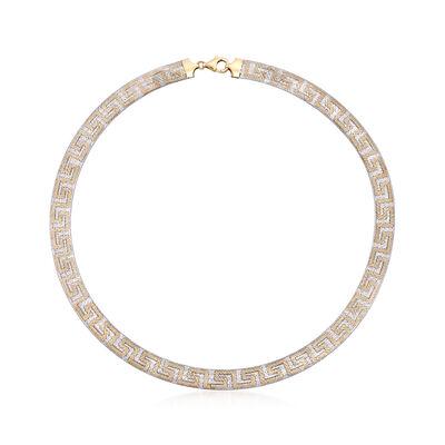 Italian 18kt Two-Tone Gold Mesh Greek Key Necklace, , default
