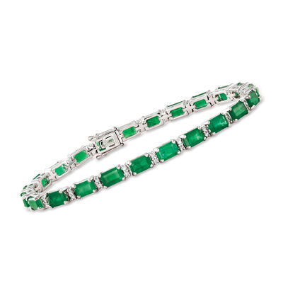12.00 ct. t.w. Emerald and .45 ct. t.w. Diamond Bracelet in 18kt White Gold, , default