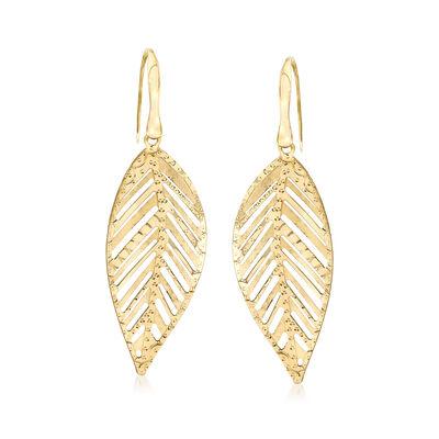 Italian 18kt Yellow Gold Leaf Drop Earrings, , default