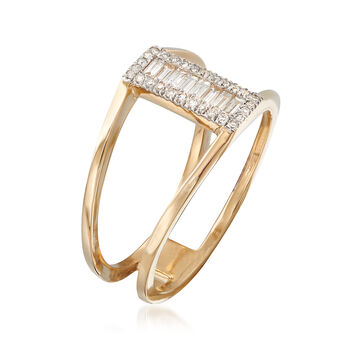 .24 ct. t.w. Baguette and Round Diamond Open-Space Ring in 14kt Yellow Gold, , default