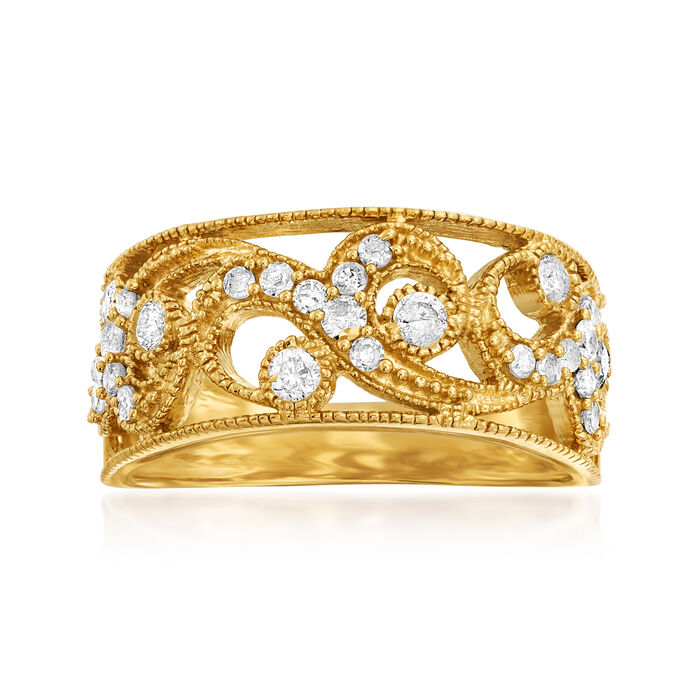 .50 ct. t.w. Diamond Swirl Openwork Ring in 18kt Gold Over Sterling