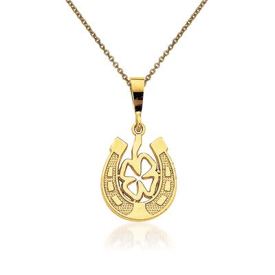 14kt Yellow Gold Good Luck Clover Pendant Necklace