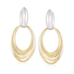 Italian 18kt Two-Tone Gold Doorknocker Earrings, , default