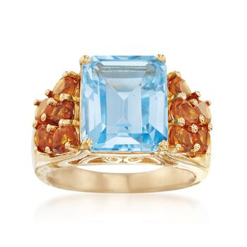 7.25 Carat Blue Topaz and 1.60 ct. t.w. Citrine Ring in 14kt Gold Over Sterling, , default