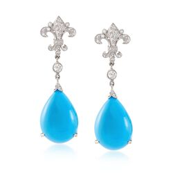 C. 1990 Vintage Turquoise and .50 ct. t.w. Diamond Fleur-De-Lis Drop Earrings in 14kt White Gold , , default