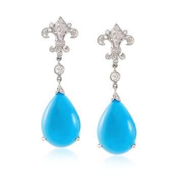 C. 1990 Vintage Turquoise and .50 ct. t.w. Diamond Fleur-De-Lis Drop Earrings in 14kt White Gold , , default