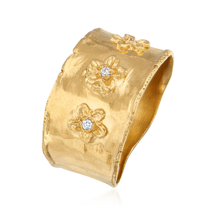 18kt Gold Over Sterling Flower Ring with Diamond Accents