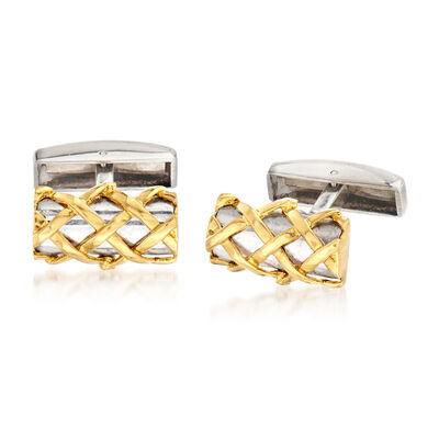 C. 1980 Vintage Tiffany Jewelry Sterling Silver Bar Cuff Links with 18kt Yellow Gold, , default