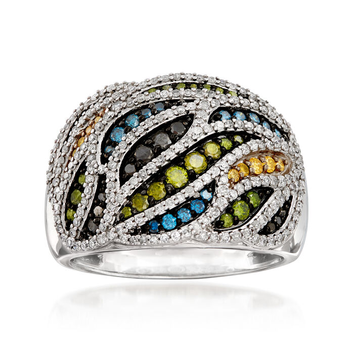 1.00 ct. t.w. Multicolored Diamond Dome Ring in 14kt White Gold, , default