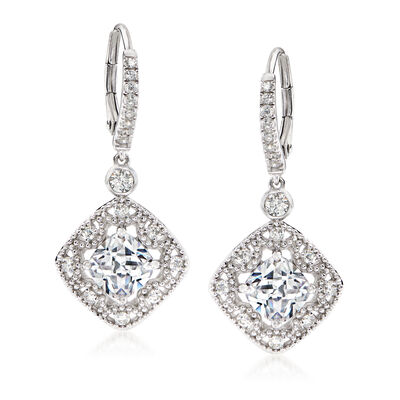 3.90 ct. t.w. CZ Drop Earrings in Sterling Silver
