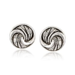 Sterling Silver Circle Knot Earrings, , default