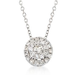 ".25 ct. t.w. Diamond Illusion Halo Pendant Necklace in 14kt White Gold. 18"", , default"