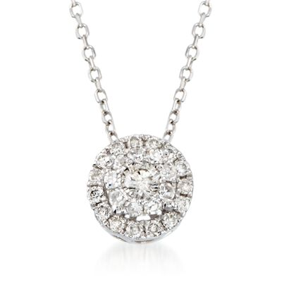 .25 ct. t.w. Diamond Halo Pendant Necklace in 14kt White Gold, , default