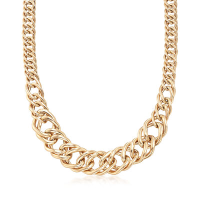 Italian 14kt Yellow Gold Modified Curb Link Necklace, , default
