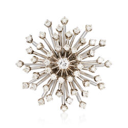 C. 1970 Vintage 2.15 ct. t.w. Diamond Starburst Pin Pendant in Palladium, , default