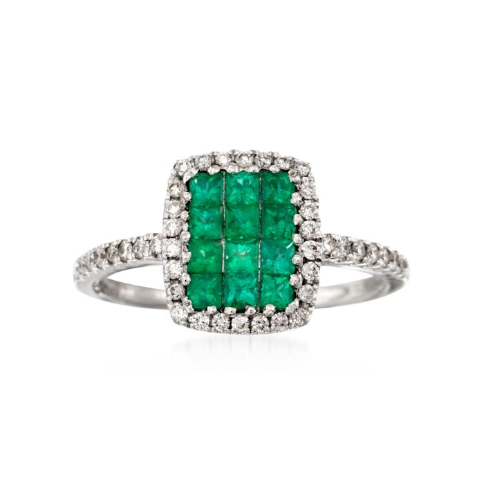 Gregg Ruth .49 ct. t.w. Emerald and .27 ct. t.w. Diamond Ring in 18kt White Gold, , default