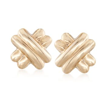 14kt Yellow Gold X Clip-On Earrings, , default