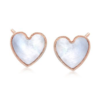 Italian Mother-Of-Pearl Heart Stud Earrings in 18kt Rose Gold Over Sterling, , default