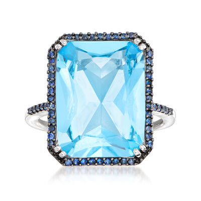 11.00 Carat Sky Blue Topaz and .20 ct. t.w. Sapphire Ring in 14kt White Gold