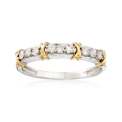 ".25 ct. t.w. Diamond and ""X"" Station Ring in 14kt Two-Tone Gold"