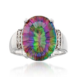 8.25 Carat Multicolored Quartz Ring With White Topaz Accents in Sterling Silver, , default