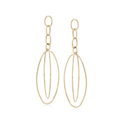 14kt Yellow Gold Multi-Oval Open Drop Earrings , , default