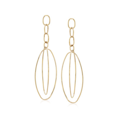 14kt Yellow Gold Multi-Oval Open Drop Earrings , , default
