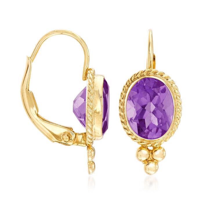 1.20 ct. t.w. Amethyst Rope Edge Earrings in 14kt Yellow Gold
