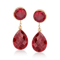 Red Corundum Drop Earrings in 14kt Yellow Gold , , default