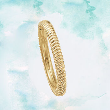 Italian Andiamo 14kt Yellow Gold Ribbed Bangle Bracelet. 8""