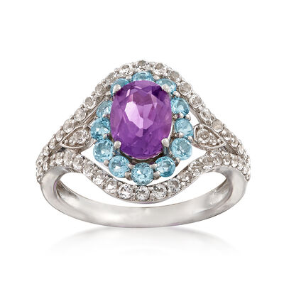 1.00 Carat Oval Amethyst and Blue and White Topaz Ring in 14kt White Gold