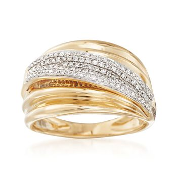 .33 ct. t.w. Pave Diamond Sash Ring in 14kt Yellow Gold, , default