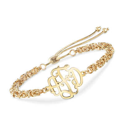 14kt Yellow Gold Monogram Byzantine Bolo Bracelet, , default