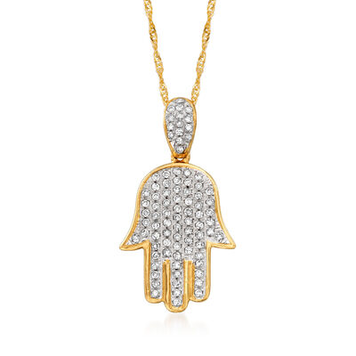 .34 ct. t.w. Pave Diamond Hamsa Pendant Necklace in 14kt Yellow Gold