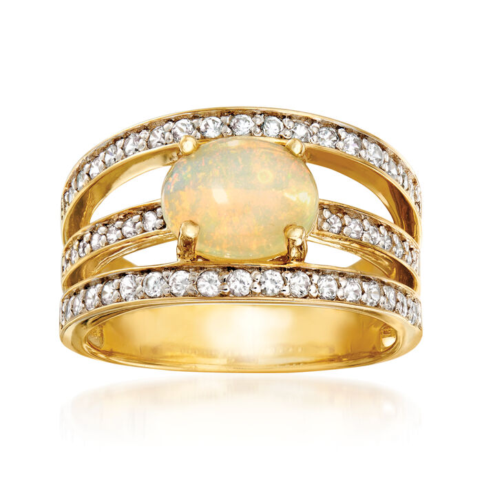9x7mm Ethiopian Opal and .70 ct. t.w. White Zircon Ring in 18kt Yellow Gold Over Sterling Silver, , default