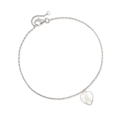 Sterling Silver Single Initial Heart Charm Anklet, , default