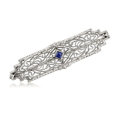 C. 1950 Vintage .10 Carat Simulated Sapphire Filigree Pin in 14kt White Gold, , default