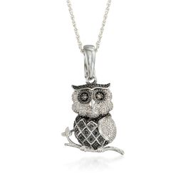 ".15 ct. t.w. Multicolored Diamond Owl Pendant Necklace in Sterling Silver. 18"", , default"