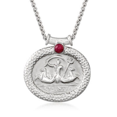 Tagliamonte .30 Carat Ruby Neptune Pendant Necklace in Sterling Silver