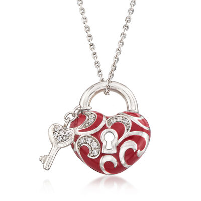 "Belle Etoile ""Key to My Heart"" .25 ct. t.w. CZ and Red Enamel Heart Pendant Necklace in Sterling Silver, , default"