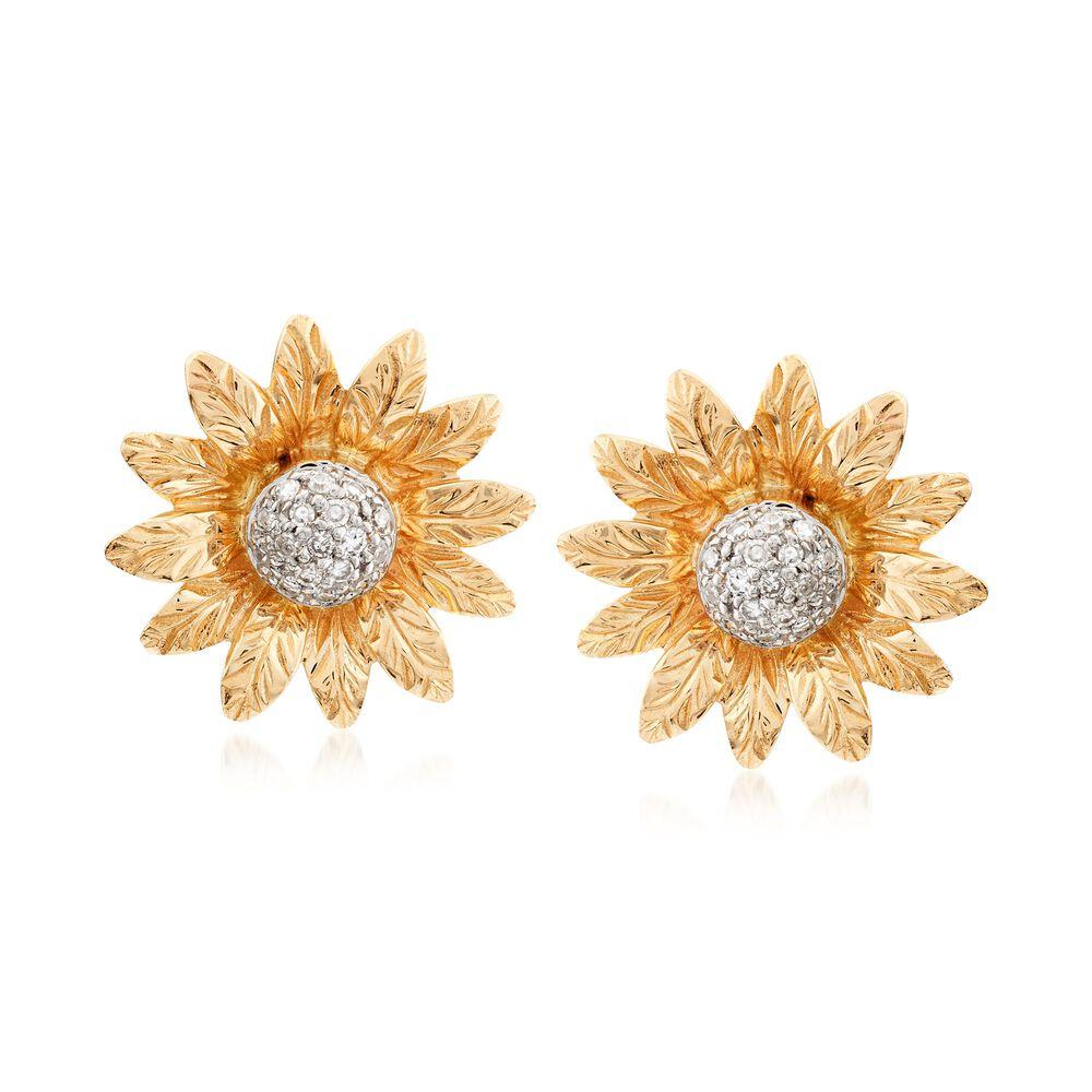 13 Ct Tw Diamond Flower Earrings In 14kt Yellow Gold Ross Simons