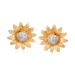 .13 ct. t.w. Diamond Flower Earrings in 14kt Yellow Gold, , default