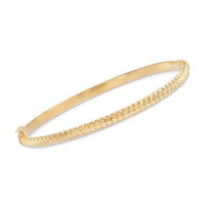 Italian 14kt Yellow Gold Diamond-Cut Bangle Bracelet, , default