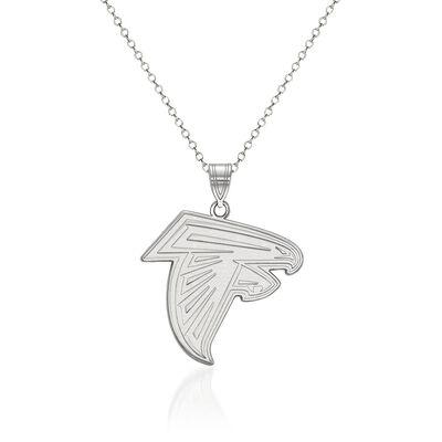 "Sterling Silver NFL Atlanta Falcons Large Pendant Necklace. 18"", , default"